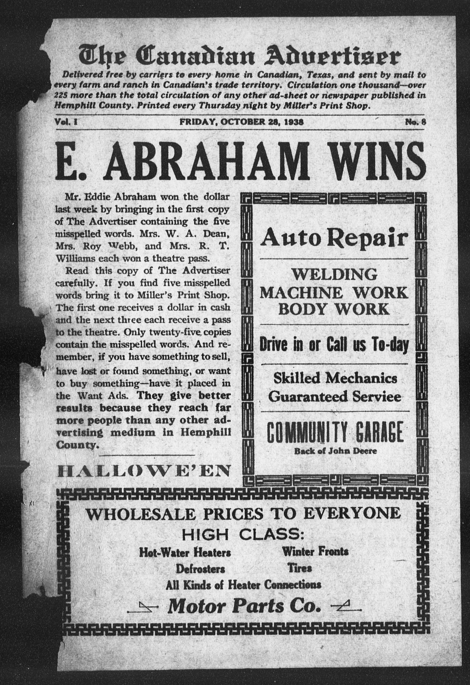 The Canadian Advertiser (Canadian, Tex), Vol. 1, No. 8, Ed. 1, Friday, October 28, 1938                                                                                                      1