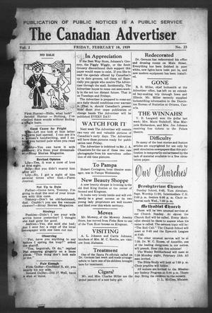 Primary view of object titled 'The Canadian Advertiser (Canadian, Tex), Vol. 1, No. 23, Ed. 1, Friday, February 10, 1939'.