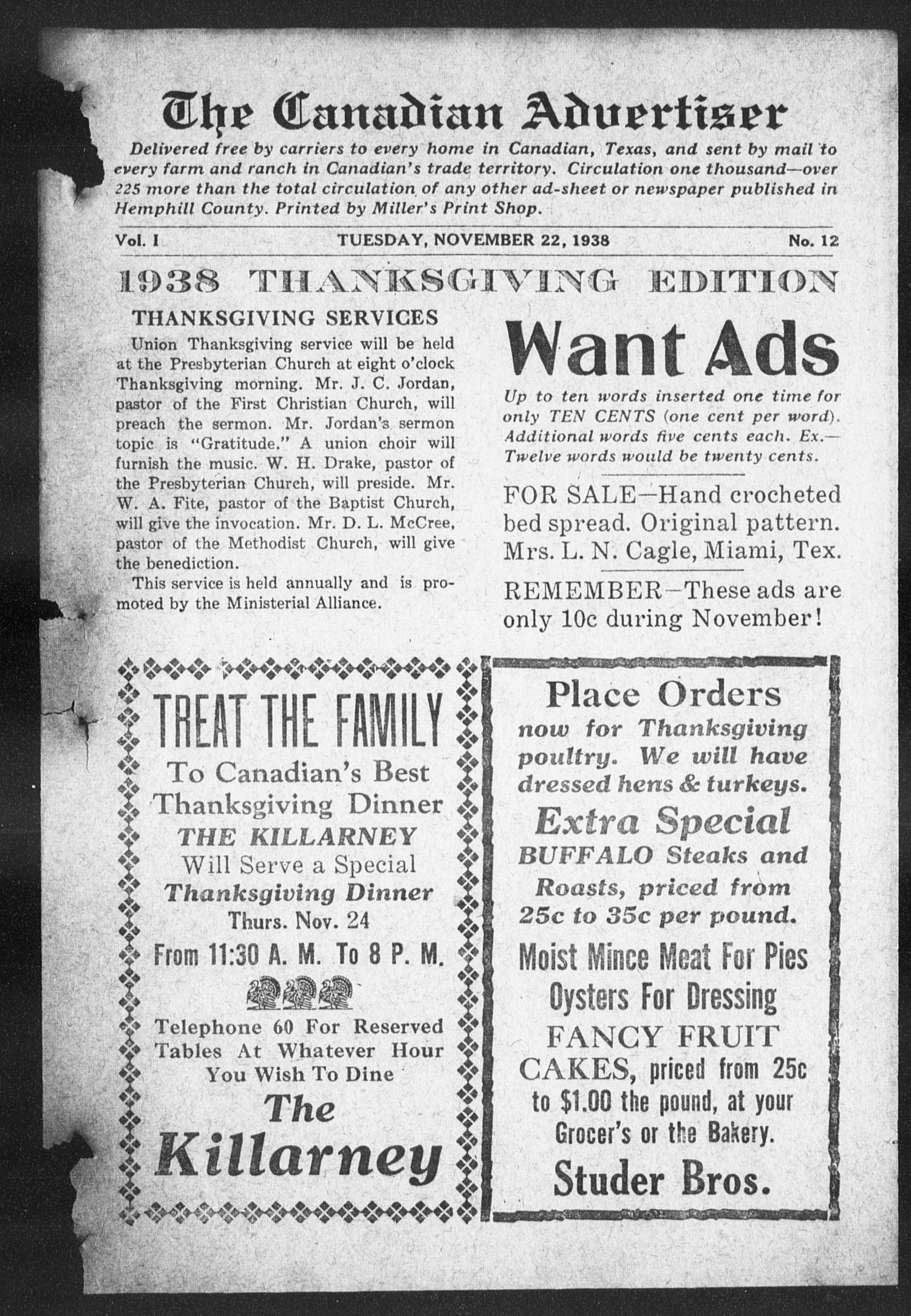 The Canadian Advertiser (Canadian, Tex), Vol. 1, No. 12, Ed. 1, Tuesday, November 22, 1938                                                                                                      1
