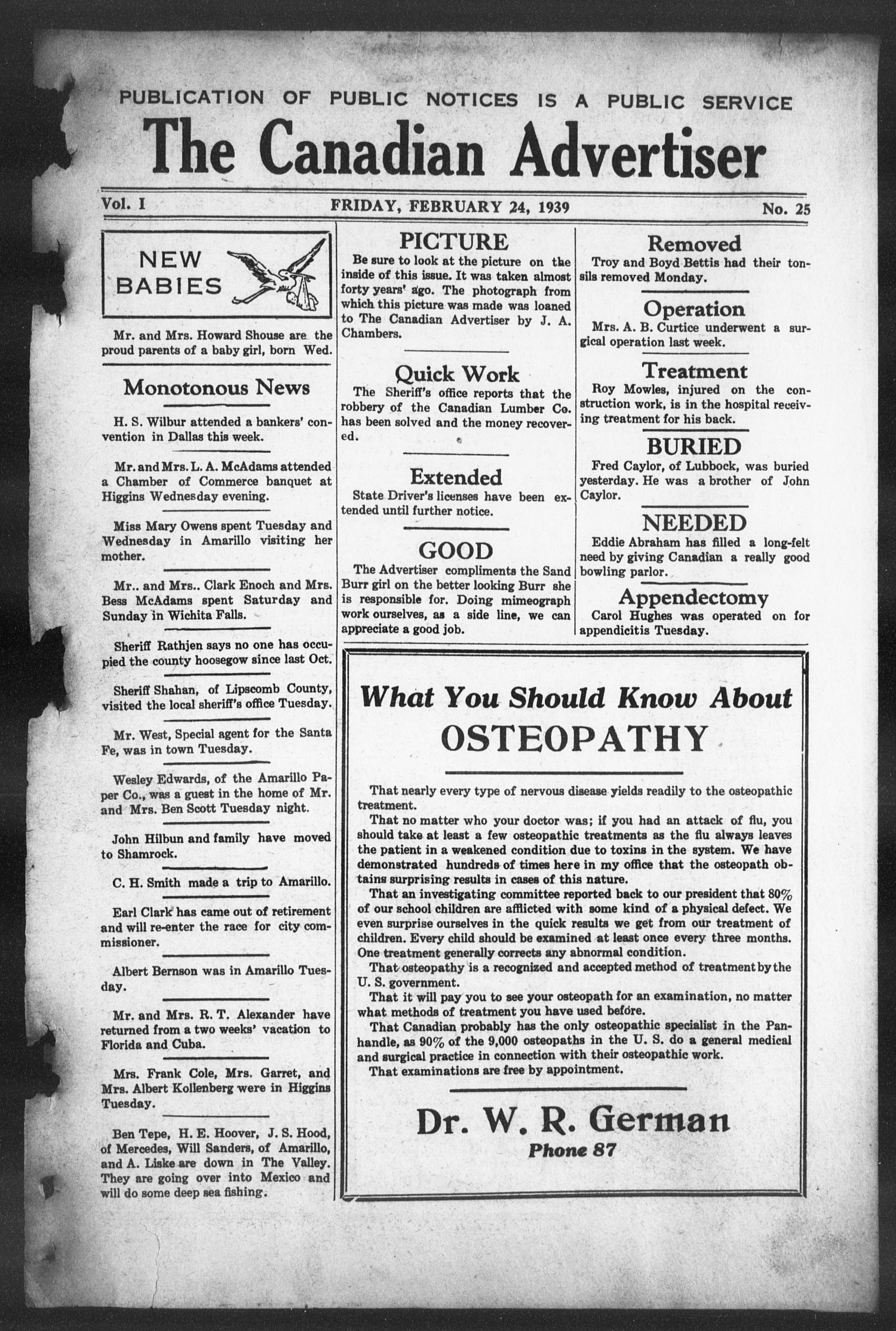 The Canadian Advertiser (Canadian, Tex), Vol. 1, No. 25, Ed. 1, Friday, February 24, 1939                                                                                                      1