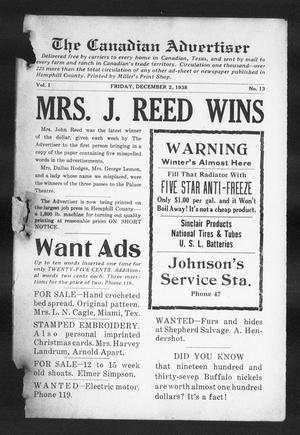 The Canadian Advertiser (Canadian, Tex), Vol. 1, No. 13, Ed. 1, Friday, December 2, 1938