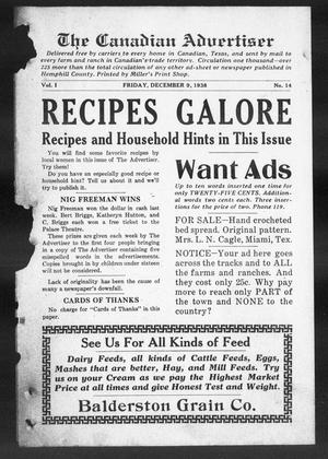 The Canadian Advertiser (Canadian, Tex), Vol. 1, No. 14, Ed. 1, Friday, December 9, 1938
