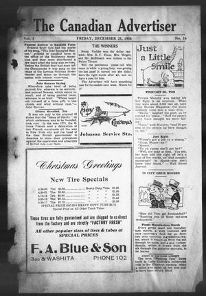 Primary view of object titled 'The Canadian Advertiser (Canadian, Tex), Vol. 1, No. 16, Ed. 1, Friday, December 23, 1938'.