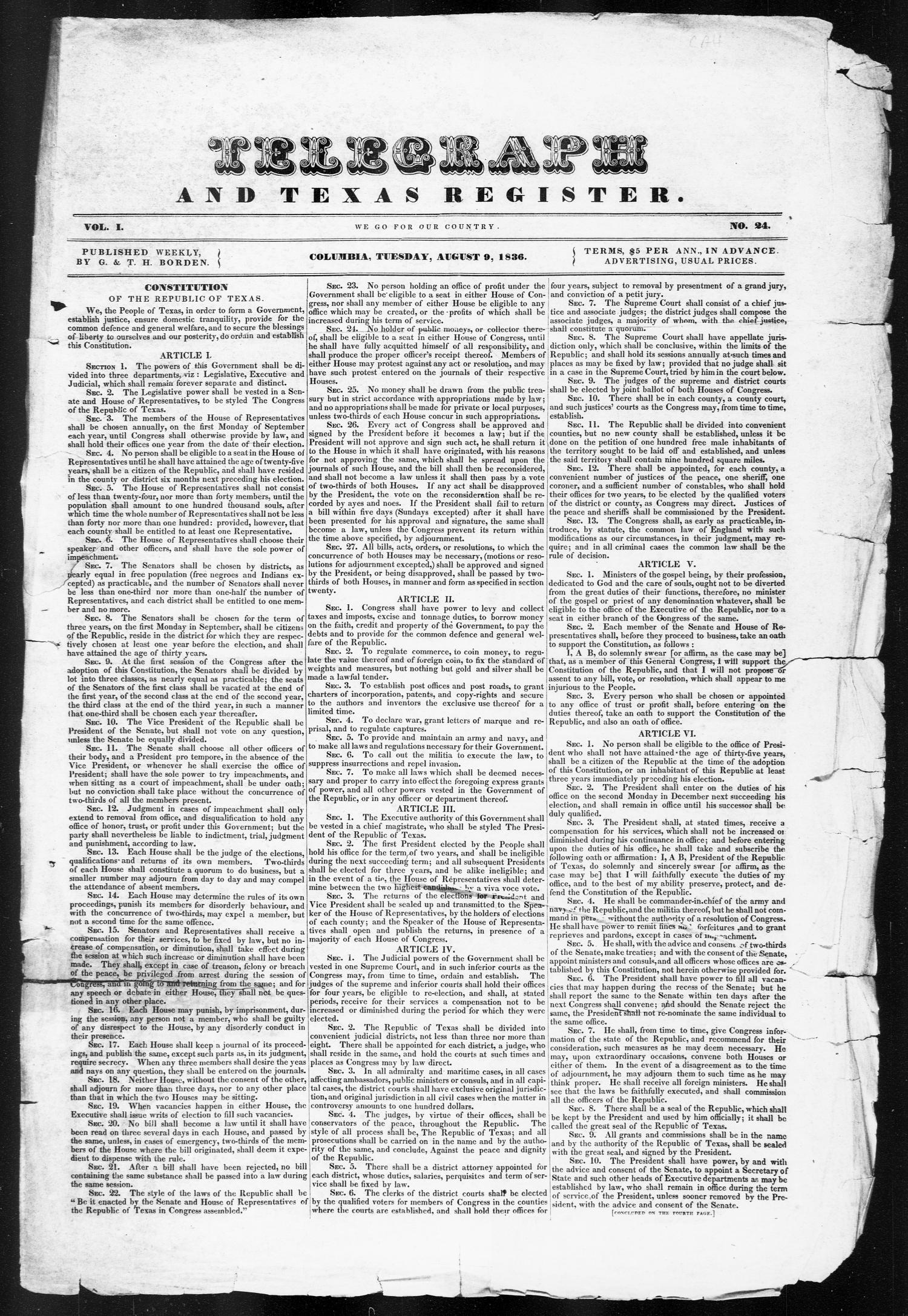 Telegraph and Texas Register (Columbia, Tex.), Vol. 1, No. 24, Ed. 1, Tuesday, August 9, 1836                                                                                                      [Sequence #]: 1 of 4