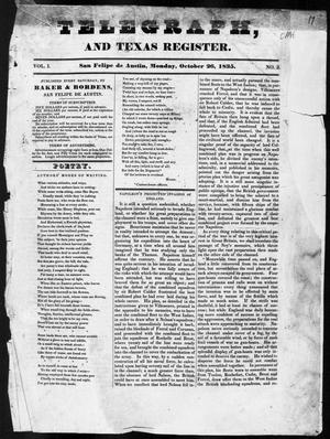 Telegraph and Texas Register (San Felipe de Austin [i.e. San Felipe], Tex.), Vol. 1, No. 3, Ed. 1, Monday, October 26, 1835
