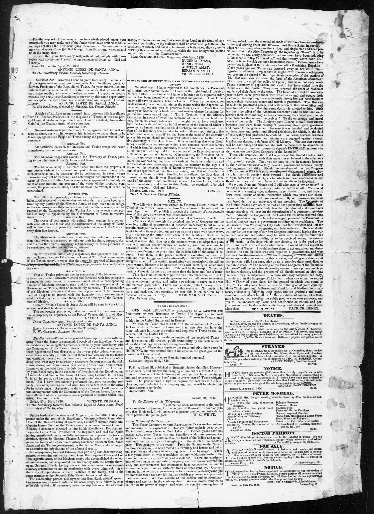Telegraph and Texas Register (Columbia, Tex.), Vol. 1, No. 26, Ed. 1, Tuesday, August 23, 1836                                                                                                      [Sequence #]: 3 of 4