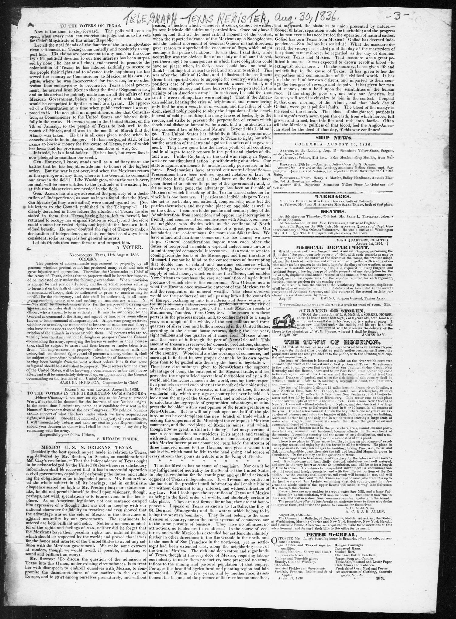 Telegraph and Texas Register (Columbia, Tex.), Vol. 1, No. 27, Ed. 1, Tuesday, August 30, 1836                                                                                                      [Sequence #]: 3 of 4