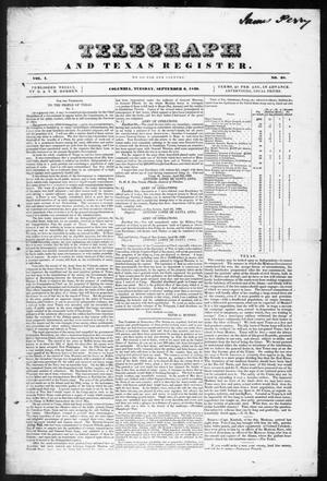 Telegraph and Texas Register (Columbia, Tex.), Vol. 1, No. 28, Ed. 1, Tuesday, September 6, 1836