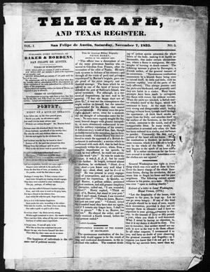 Telegraph and Texas Register (San Felipe de Austin [i.e. San Felipe], Tex.), Vol. 1, No. 5, Ed. 1, Saturday, November 7, 1835
