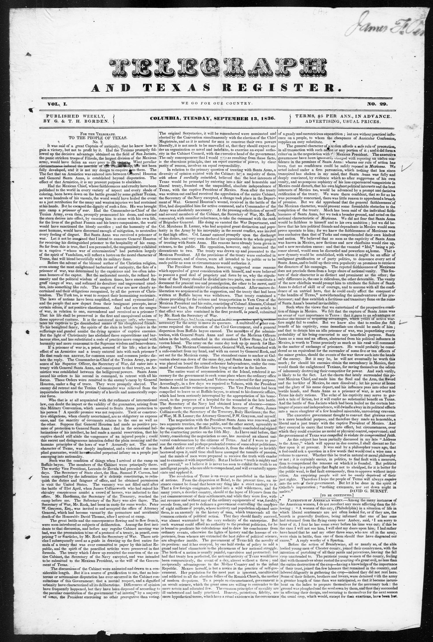 Telegraph and Texas Register (Columbia, Tex.), Vol. 1, No. 29, Ed. 1, Tuesday, September 13, 1836                                                                                                      [Sequence #]: 1 of 4
