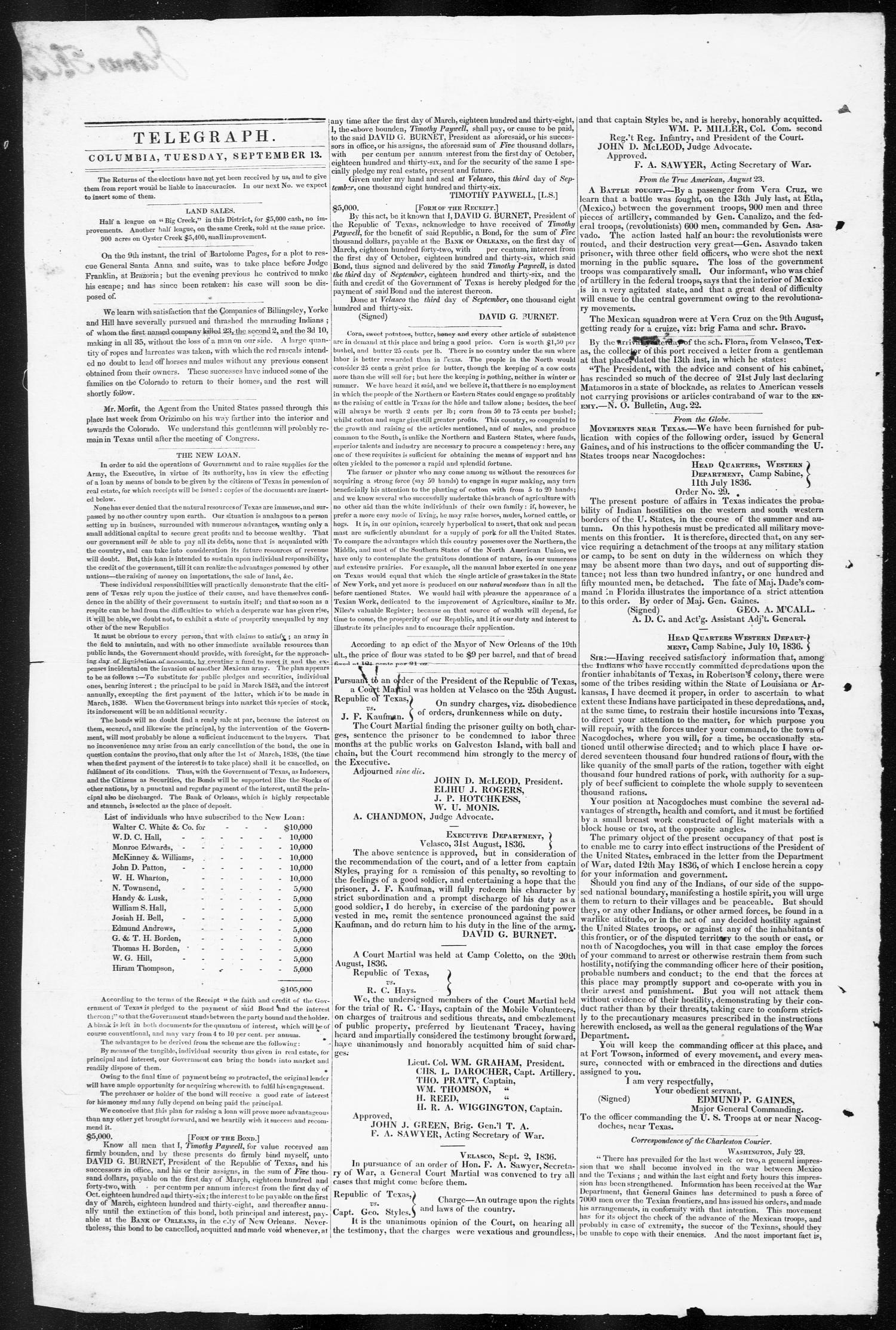 Telegraph and Texas Register (Columbia, Tex.), Vol. 1, No. 29, Ed. 1, Tuesday, September 13, 1836                                                                                                      [Sequence #]: 2 of 4