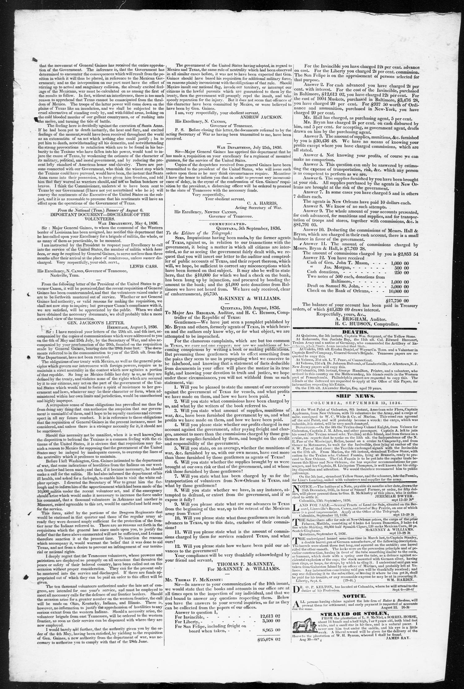 Telegraph and Texas Register (Columbia, Tex.), Vol. 1, No. 29, Ed. 1, Tuesday, September 13, 1836                                                                                                      [Sequence #]: 3 of 4