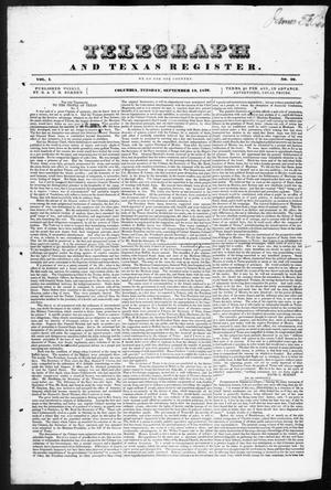 Telegraph and Texas Register (Columbia, Tex.), Vol. 1, No. 29, Ed. 1, Tuesday, September 13, 1836