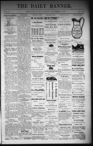 Primary view of The Daily Banner. (Brenham, Tex.), Vol. 4, No. 263, Ed. 1 Tuesday, November 4, 1879