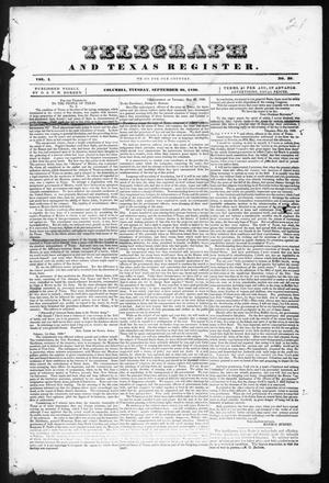 Primary view of object titled 'Telegraph and Texas Register (Columbia, Tex.), Vol. 1, No. 30, Ed. 1, Tuesday, September 20, 1836'.
