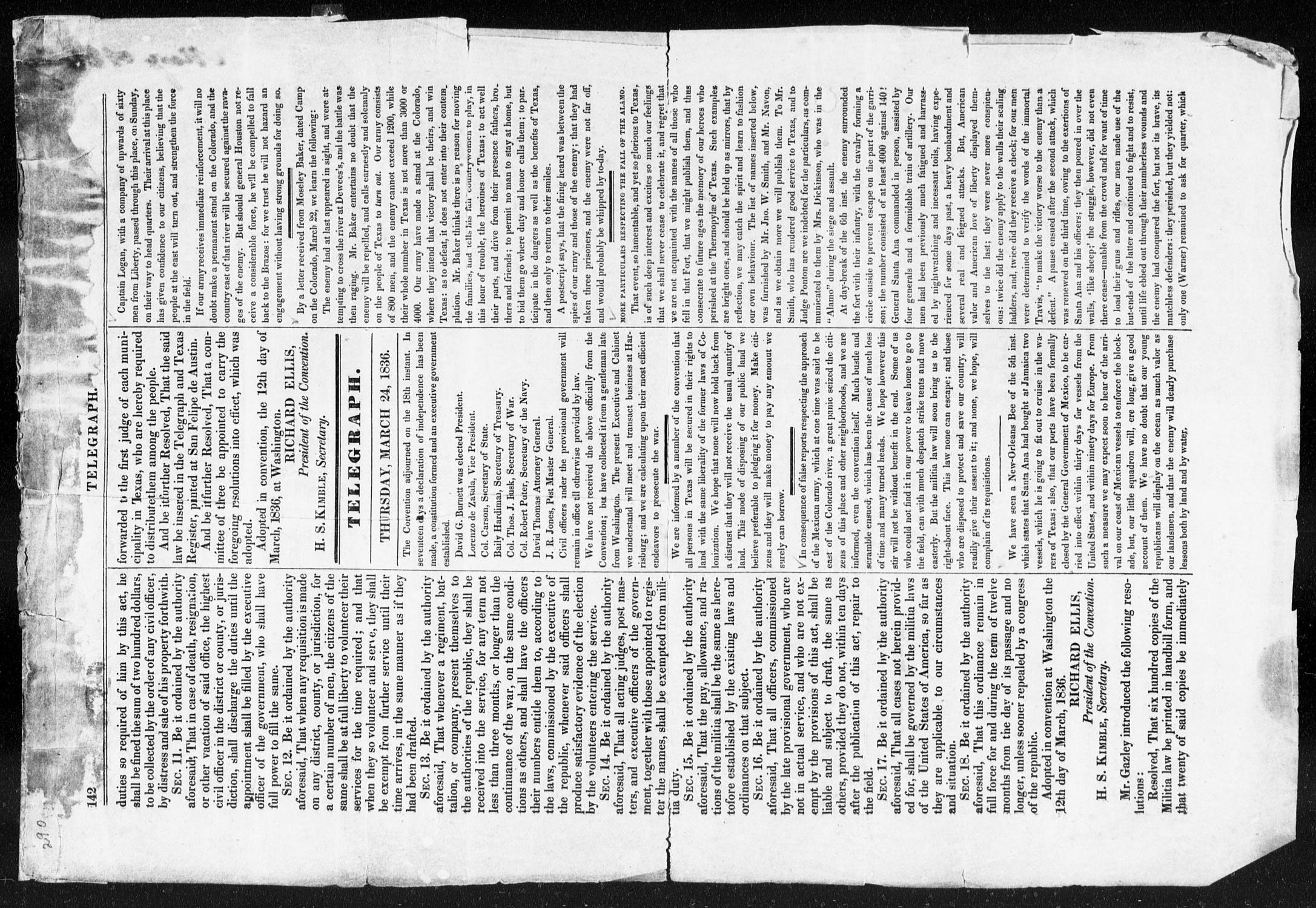 Telegraph and Texas Register (San Felipe de Austin [i.e. San Felipe], Tex.), Vol. 1, No. 21, Ed. 1, Thursday, March 24, 1836                                                                                                      [Sequence #]: 2 of 4