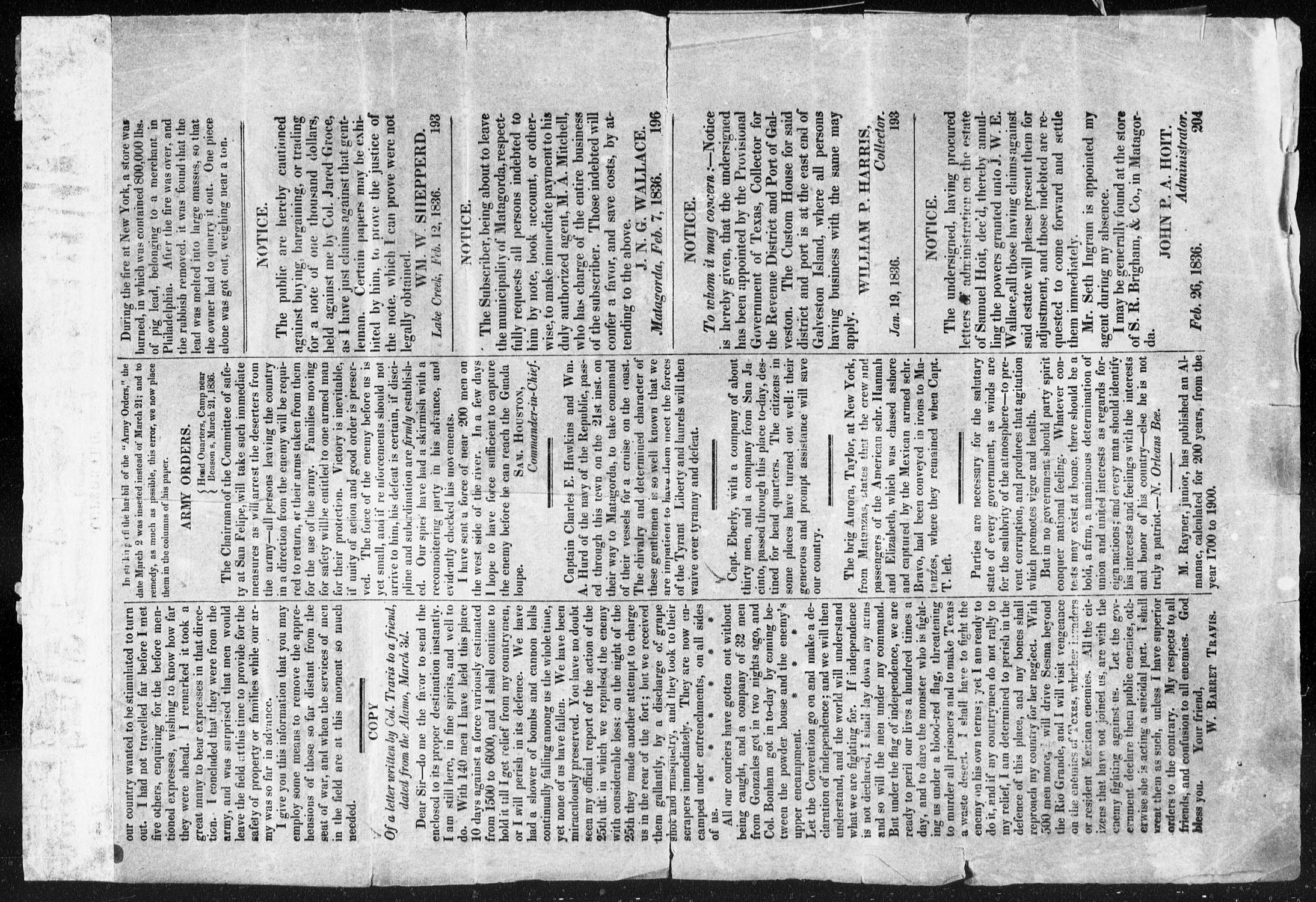 Telegraph and Texas Register (San Felipe de Austin [i.e. San Felipe], Tex.), Vol. 1, No. 21, Ed. 1, Thursday, March 24, 1836                                                                                                      [Sequence #]: 4 of 4