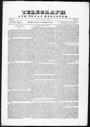 Telegraph and Texas Register (Columbia, Tex.), Vol. 1, No. 31, Ed. 1, Tuesday, September 27, 1836