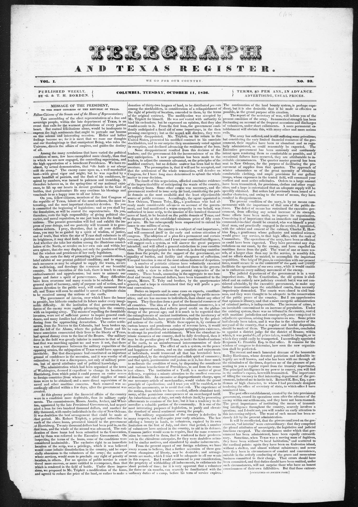 Telegraph and Texas Register (Columbia, Tex.), Vol. 1, No. 33, Ed. 1, Tuesday, October 11, 1836                                                                                                      [Sequence #]: 1 of 4