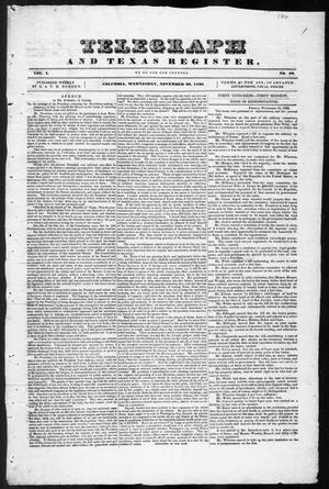 Primary view of object titled 'Telegraph and Texas Register (Columbia, Tex.), Vol. 1, No. 42, Ed. 1, Saturday, November 26, 1836'.