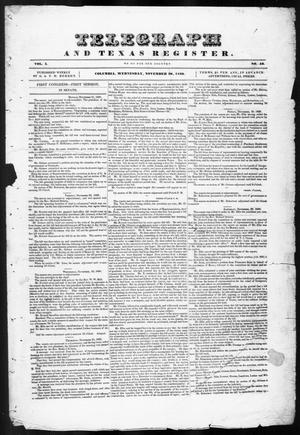 Primary view of object titled 'Telegraph and Texas Register (Columbia, Tex.), Vol. 1, No. 43, Ed. 1, Wednesday, November 30, 1836'.