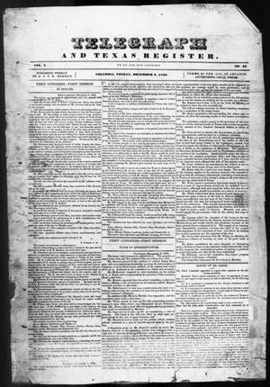 Primary view of object titled 'Telegraph and Texas Register (Columbia, Tex.), Vol. 1, No. 45, Ed. 1, Friday, December 9, 1836'.