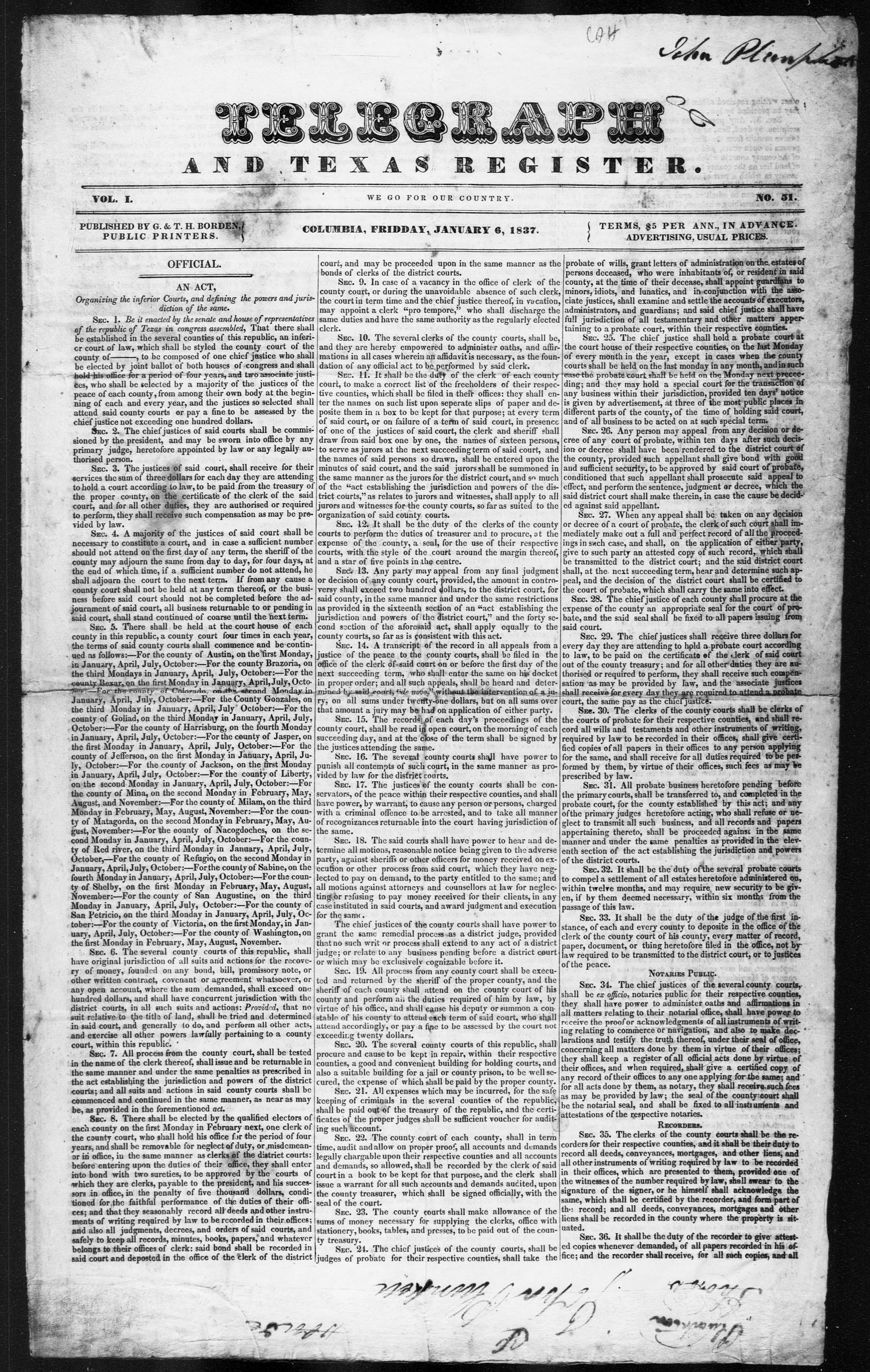 Telegraph and Texas Register (Columbia, Tex.), Vol. 1, No. 51, Ed. 1, Friday, January 6, 1837                                                                                                      [Sequence #]: 1 of 4