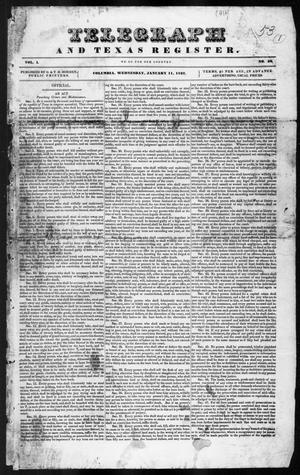 Primary view of object titled 'Telegraph and Texas Register (Columbia, Tex.), Vol. 1, No. 52, Ed. 1, Wednesday, January 11, 1837'.