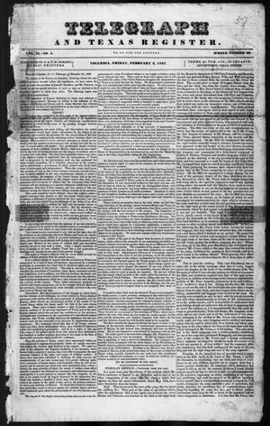 Primary view of Telegraph and Texas Register (Columbia, Tex.), Vol. 2, No. 4, Ed. 1, Friday, February 3, 1837