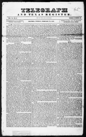 Primary view of object titled 'Telegraph and Texas Register (Columbia, Tex.), Vol. 2, No. 6, Ed. 1, Tuesday, February 14, 1837'.