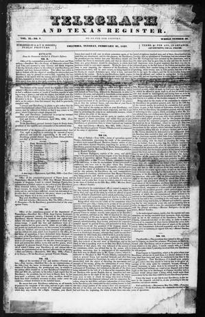 Primary view of object titled 'Telegraph and Texas Register (Columbia, Tex.), Vol. 2, No. 7, Ed. 1, Tuesday, February 21, 1837'.