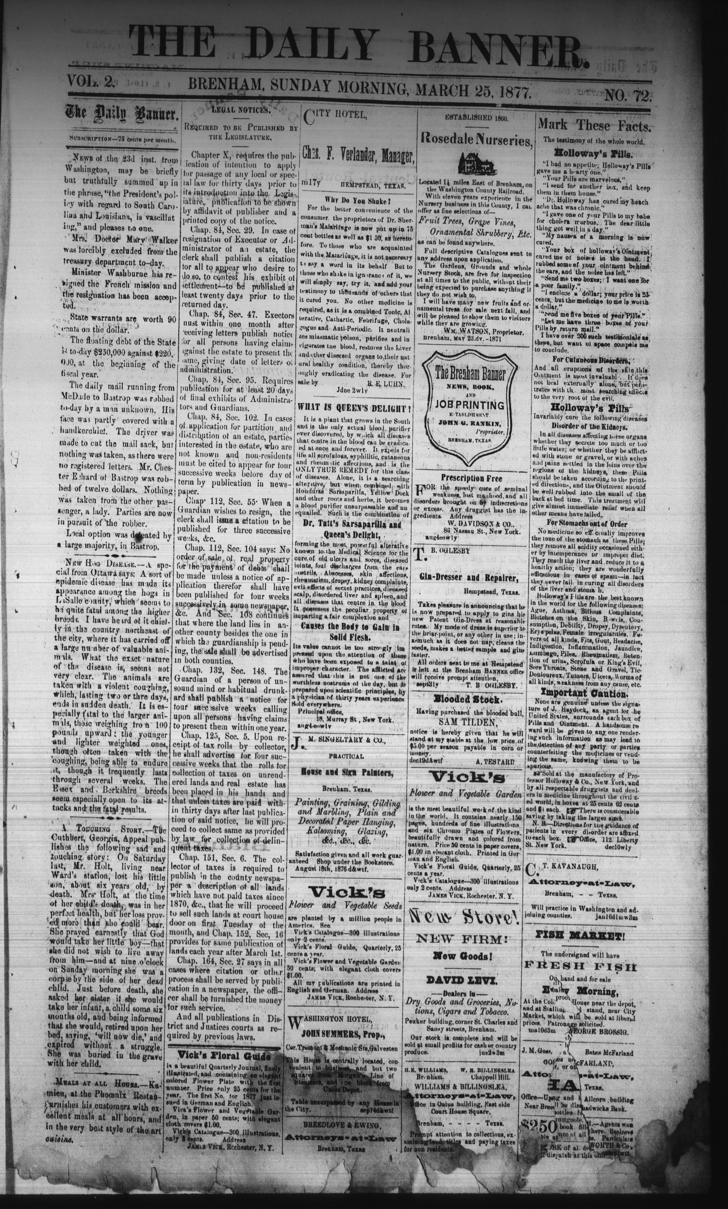 The Daily Banner. (Brenham, Tex.), Vol. 2, No. 72, Ed. 1 Sunday, March 25, 1877                                                                                                      [Sequence #]: 1 of 4
