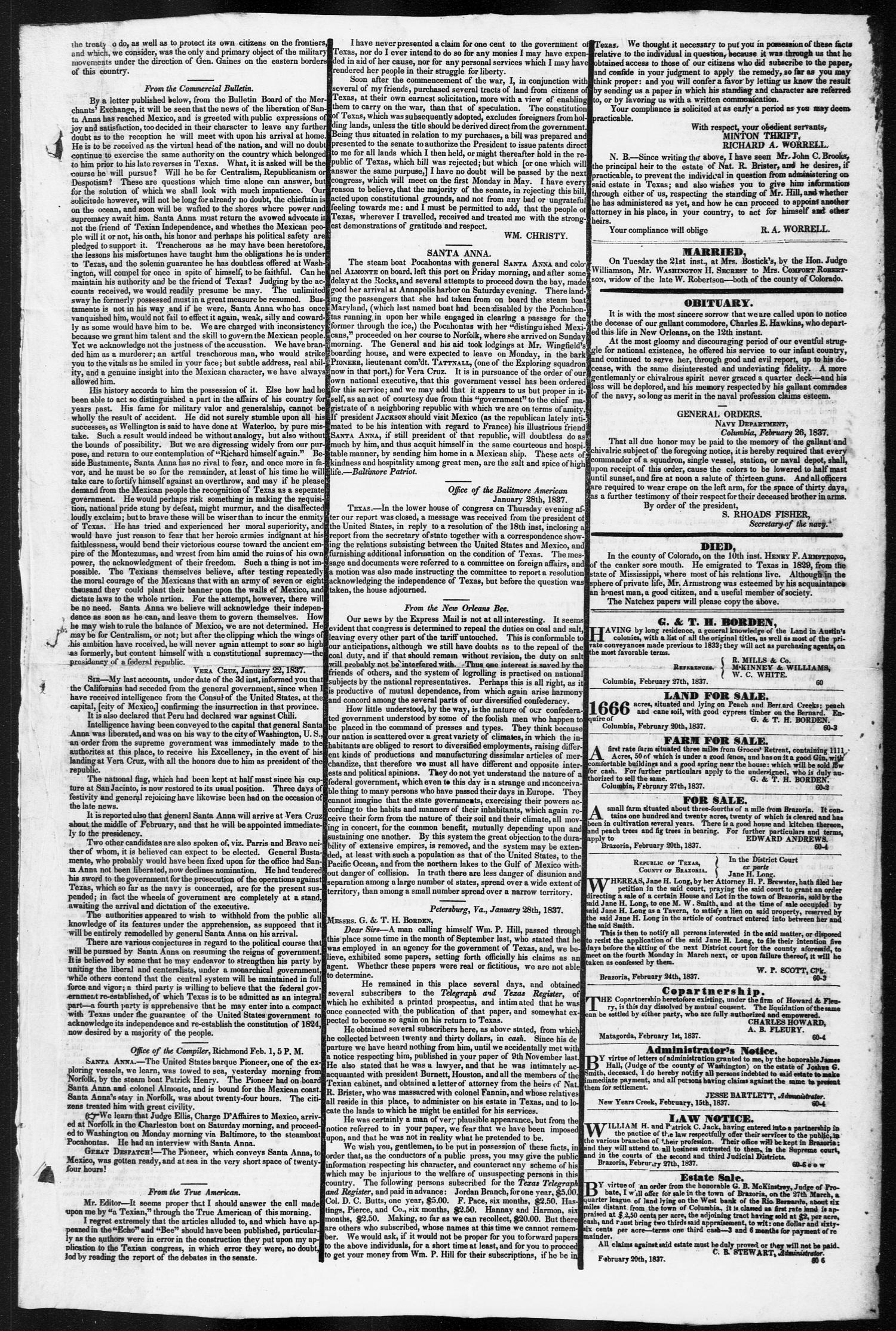 Telegraph and Texas Register (Columbia, Tex.), Vol. 2, No. 8, Ed. 1, Tuesday, February 28, 1837                                                                                                      [Sequence #]: 3 of 4