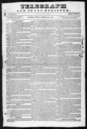 Telegraph and Texas Register (Columbia, Tex.), Vol. 2, No. 8, Ed. 1, Tuesday, February 28, 1837