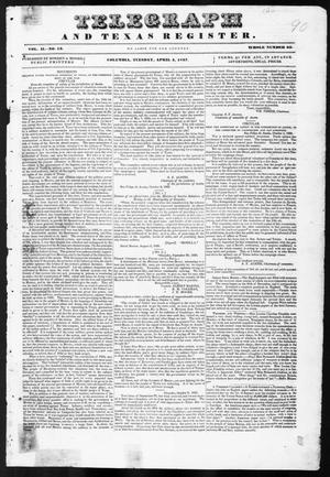 Primary view of object titled 'Telegraph and Texas Register (Columbia, Tex.), Vol. 2, No. 13, Ed. 1, Tuesday, April 4, 1837'.