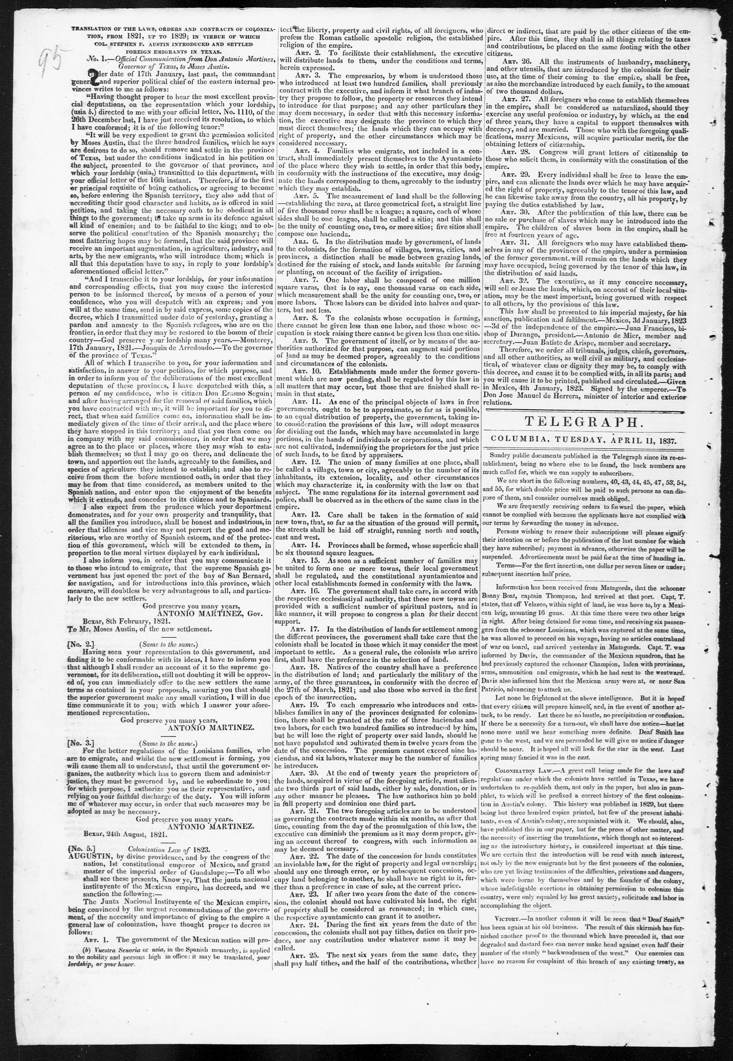 Telegraph and Texas Register (Columbia, Tex.), Vol. 2, No. 14, Ed. 1, Tuesday, April 11, 1837                                                                                                      [Sequence #]: 2 of 4