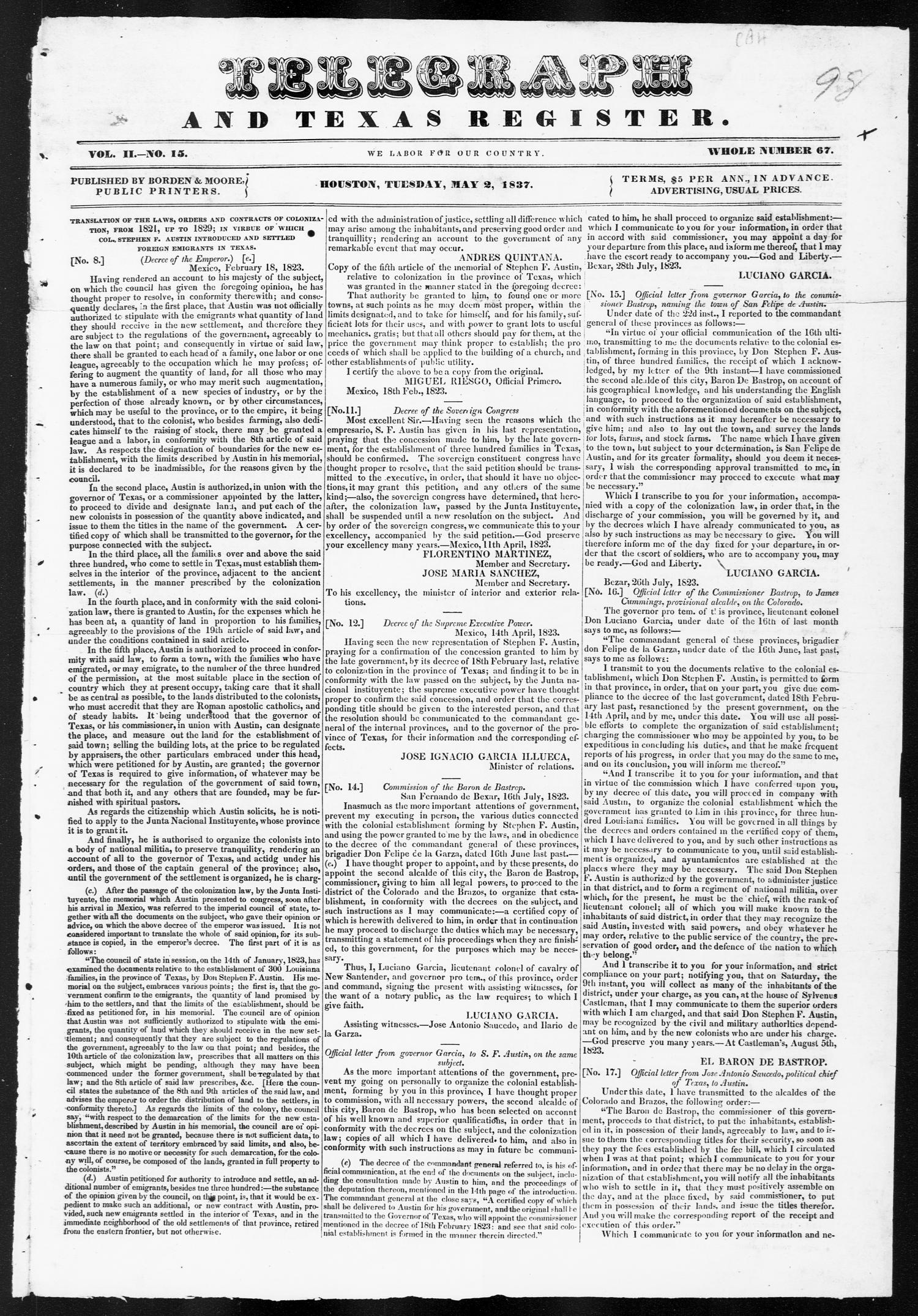 Telegraph and Texas Register (Houston, Tex.), Vol. 2, No. 15, Ed. 1, Tuesday, May 2, 1837                                                                                                      [Sequence #]: 1 of 4