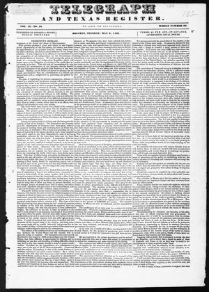 Primary view of object titled 'Telegraph and Texas Register (Houston, Tex.), Vol. 2, No. 16, Ed. 1, Tuesday, May 9, 1837'.