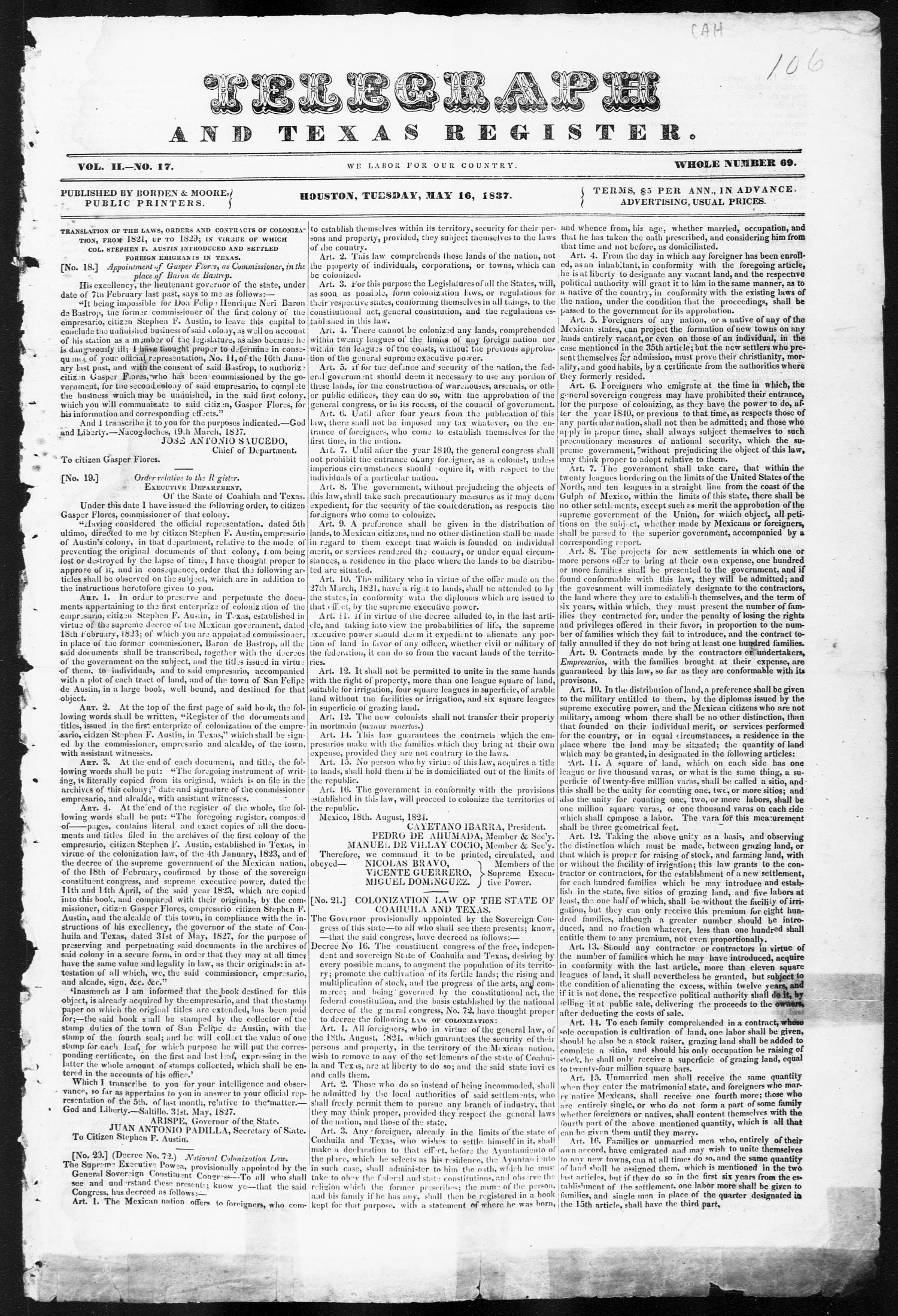 Telegraph and Texas Register (Houston, Tex.), Vol. 2, No. 17, Ed. 1, Tuesday, May 16, 1837                                                                                                      [Sequence #]: 1 of 4