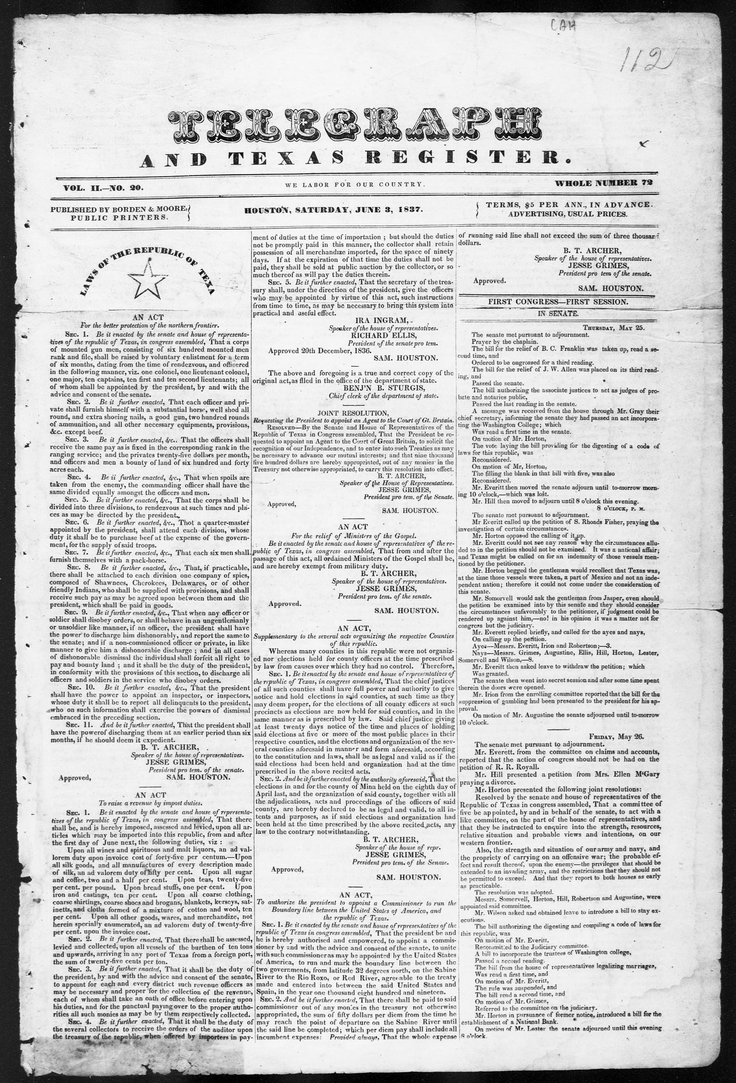 Telegraph and Texas Register (Houston, Tex.), Vol. 2, No. 20, Ed. 1, Saturday, June 3, 1837                                                                                                      [Sequence #]: 1 of 4
