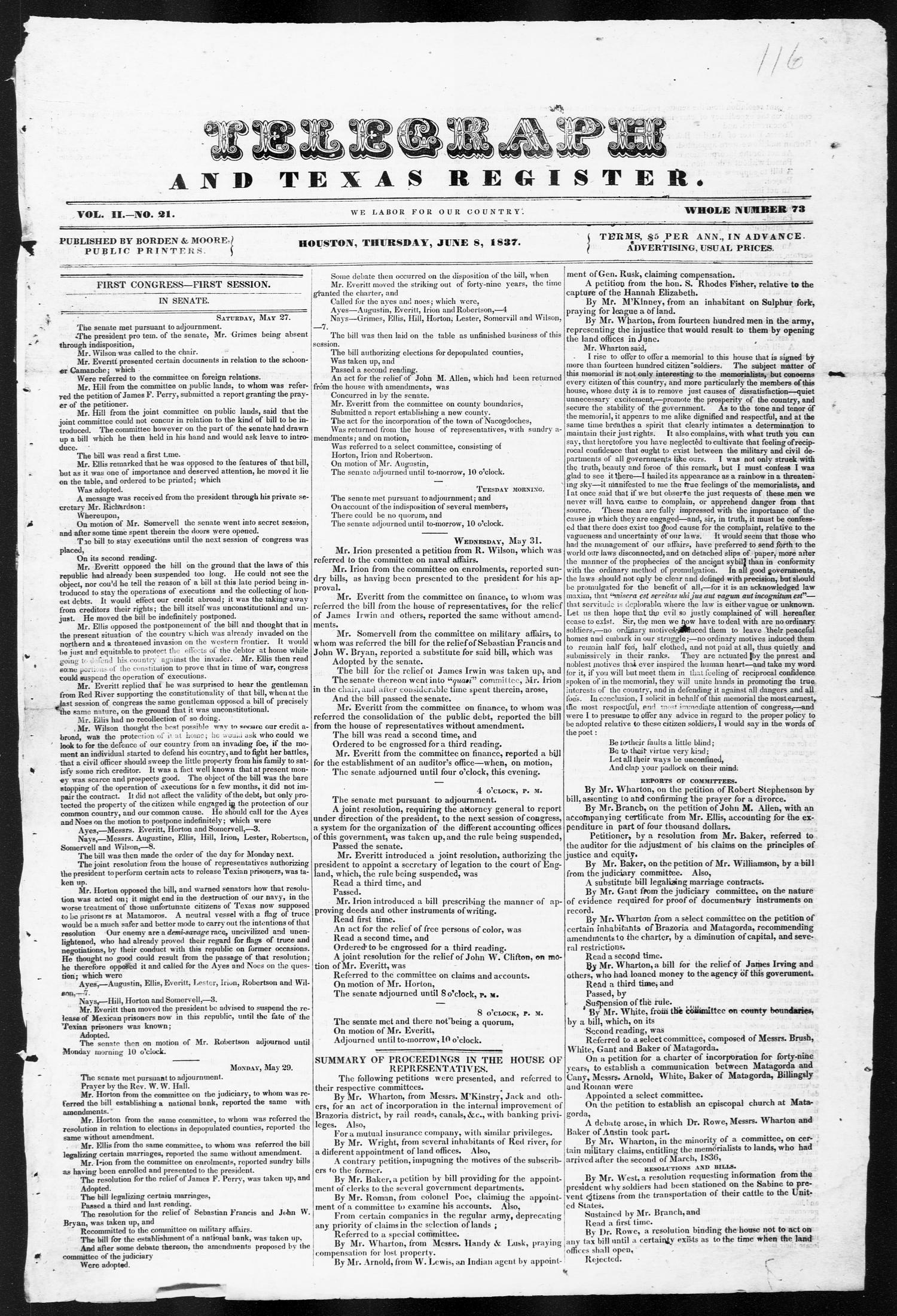 Telegraph and Texas Register (Houston, Tex.), Vol. 2, No. 21, Ed. 1, Thursday, June 8, 1837                                                                                                      [Sequence #]: 1 of 4