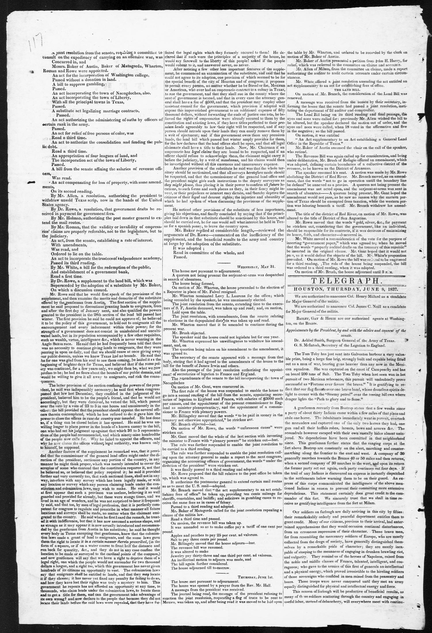 Telegraph and Texas Register (Houston, Tex.), Vol. 2, No. 21, Ed. 1, Thursday, June 8, 1837                                                                                                      [Sequence #]: 2 of 4