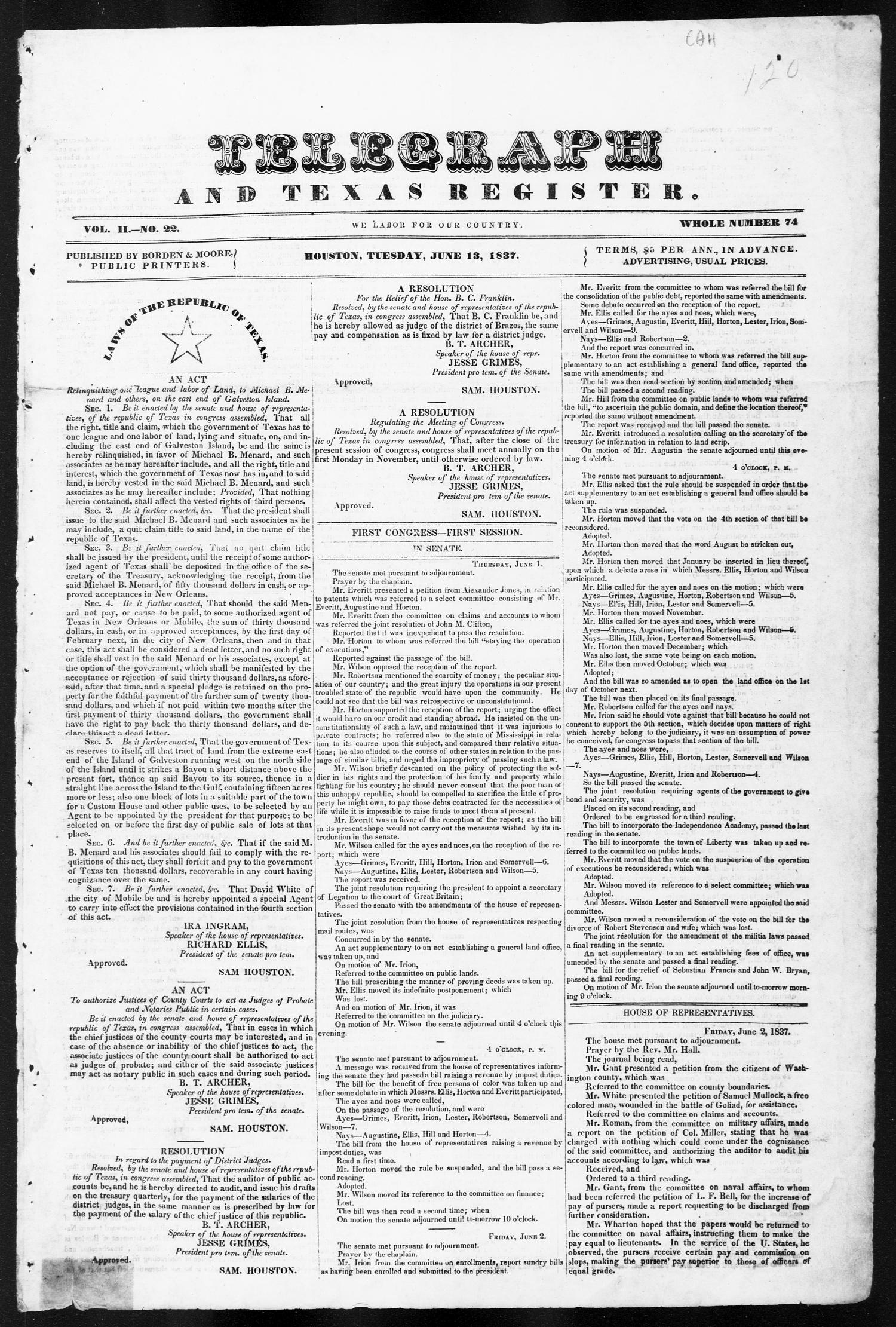 Telegraph and Texas Register (Houston, Tex.), Vol. 2, No. 22, Ed. 1, Tuesday, June 13, 1837                                                                                                      [Sequence #]: 1 of 4