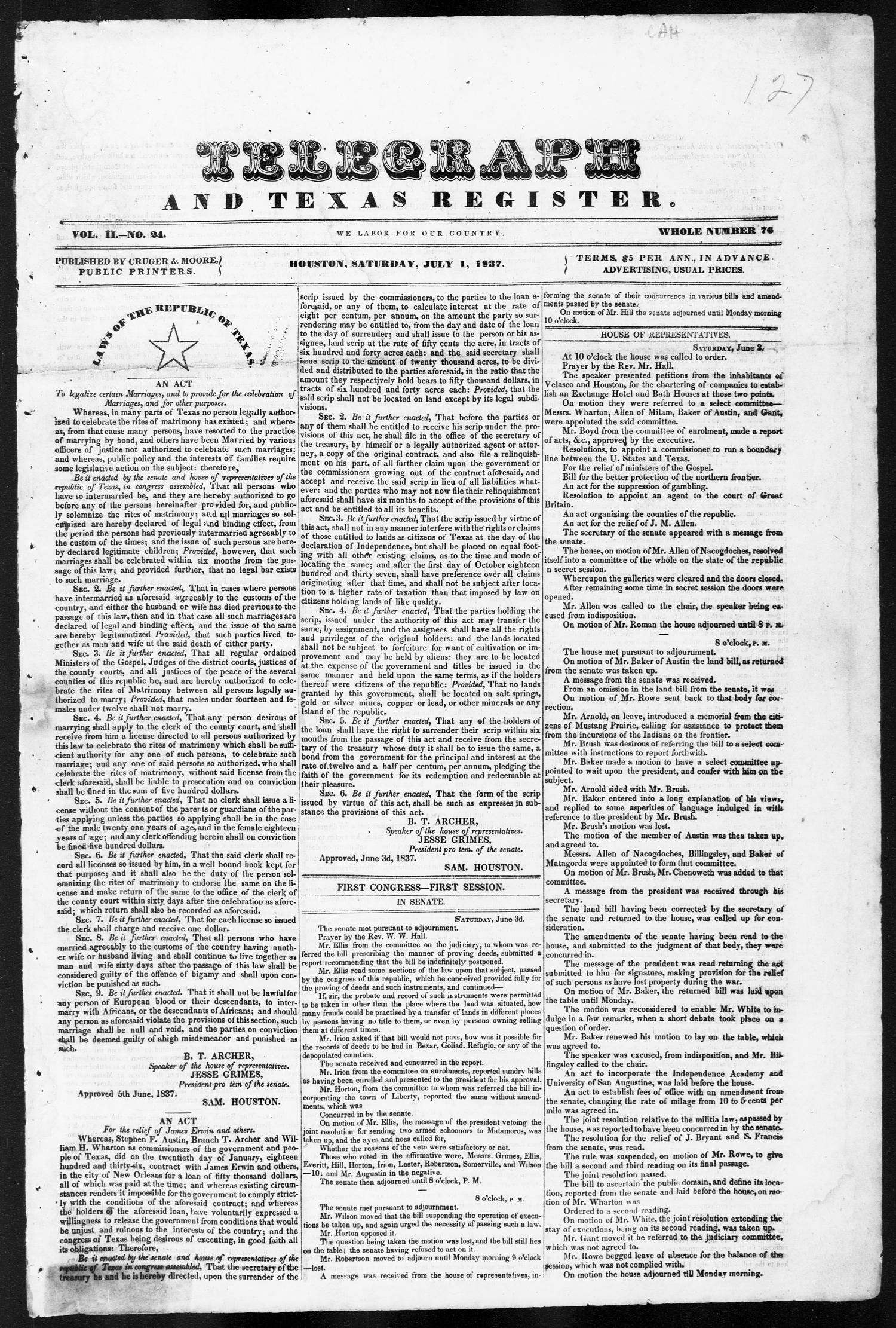 Telegraph and Texas Register (Houston, Tex.), Vol. 2, No. 24, Ed. 1, Saturday, July 1, 1837                                                                                                      [Sequence #]: 1 of 4