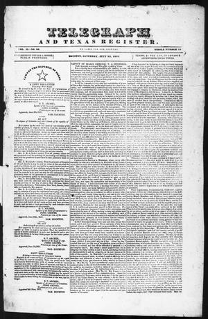 Primary view of object titled 'Telegraph and Texas Register (Houston, Tex.), Vol. 2, No. 26, Ed. 1, Saturday, July 15, 1837'.