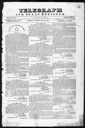 Primary view of object titled 'Telegraph and Texas Register (Houston, Tex.), Vol. 2, No. 28, Ed. 1, Saturday, July 29, 1837'.