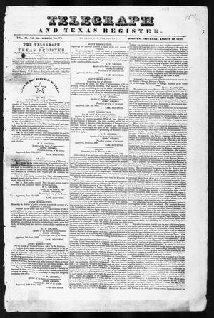 Primary view of object titled 'Telegraph and Texas Register (Houston, Tex.), Vol. 2, No. 30, Ed. 1, Saturday, August 12, 1837'.