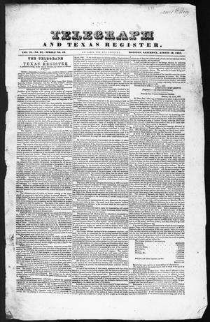 Primary view of object titled 'Telegraph and Texas Register (Houston, Tex.), Vol. 2, No. 31, Ed. 1, Saturday, August 19, 1837'.