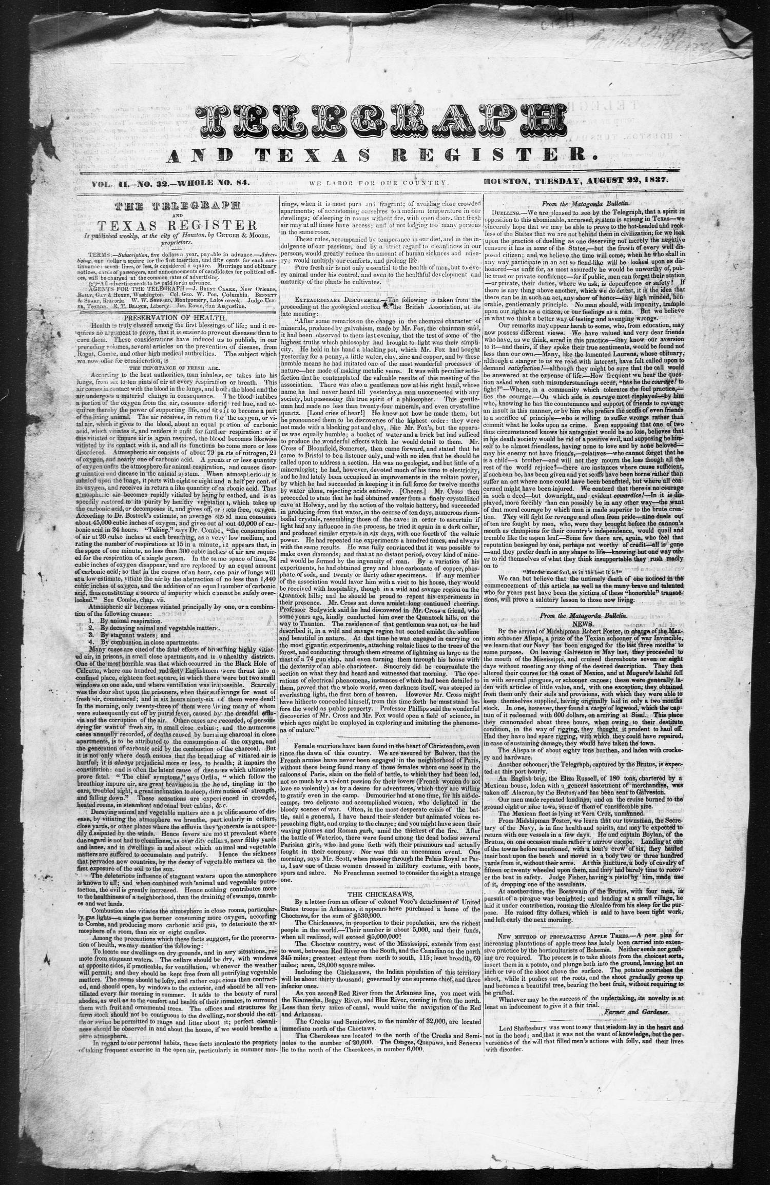 Telegraph and Texas Register (Houston, Tex.), Vol. 2, No. 32, Ed. 1, Tuesday, August 22, 1837                                                                                                      [Sequence #]: 1 of 4
