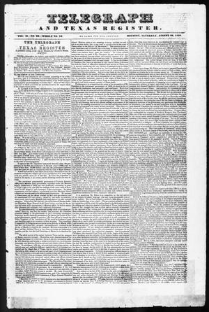 Primary view of object titled 'Telegraph and Texas Register (Houston, Tex.), Vol. 2, No. 33, Ed. 1, Saturday, August 26, 1837'.